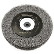 Forney 72897 Wire Bench Wheel Brush Industrial Pro Crimped with 1.3cm Through 5.1cm Multi Arbour