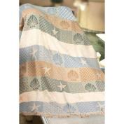 Seashells and Starfish Blue, Tan and Green Two Layer Jacquard Woven Throw Blanket 120cm X 150cm