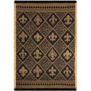 Black and Gold Diamond Fleur-de-Lis Motif Jacquard Woven Fringed Throw Blanket 130cm x 150cm
