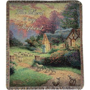 """Thomas Kinkade """"The Lord Is My Shepherd"""" Cottage Pictorial Jacquard Woven Fringed Throw Blanket 130cm X 150cm"""