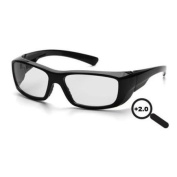 Pyramex Emerge Safety Glasses, Black Frame/Clear +2.0 Lens