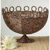 St. Croix Kindwer Round Beaded Decorative Basket