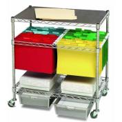 Seville Classics Heavy-Duty Office Utility File Cart, Chrome