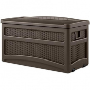 Suncast 276.3l Java Resin Wicker Storage Seat Deck Box with Wheels DBW7500