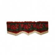 Violet Linen Seasonal Poinsettia Design 150cm Curtain Valance