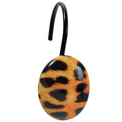 "Carnation Home Fashions Animal Instincts ""Leopard"" Pattern Resin Shower Curtain Hooks"