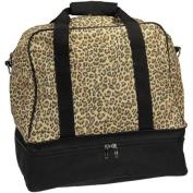 Leopard Print Weekender Bag with Shoe Pocket and Expandable Shoulder Strap