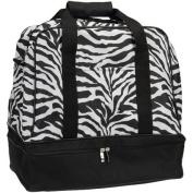 Zebra Print Weekender Bag with Shoe Pocket and Expandable Shoulder Strap