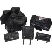 Diamond Plate LUMSET6 Diamond Plate 6pc Rock Design Genuine Buffalo Leather Motorcycle Luggage Set- Lea