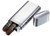 Visol VCASE718 Visol Palencia Polished Stainless Steel 2 Finger Cigar Case with Flask