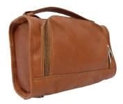 Half-Moon Leather Utility Kit w Water Resistant Interior in Saddle
