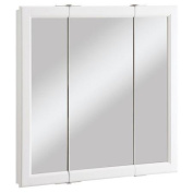 Design House 545293 Wyndham White Semi-Gloss Tri-View Medicine Cabinet Mirror with 3-Doors 80cm by 12cm by 80cm