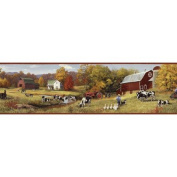 Brewster Home Fashions Borders by Chesapeake Herman Cow Pasture Portrait Border Wallpaper