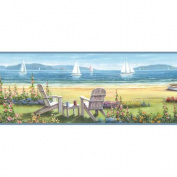 Brewster Home Fashions Borders by Chesapeake Regatta Seaside Cottage Portrait Border Wallpaper