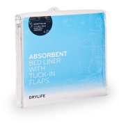 DryLife Absorbent Bed Pad with Tuck-In Flaps White