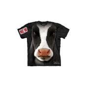 Black Cow Face Adult T-Shirt by The Mountain - 10-3347, ADULT S