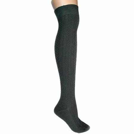 3c2d80637 Luxury Divas Grey Cable Knit Thigh High Over The Knee Socks by ...