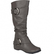 Brinley Co. Womens Slouchy Buckle Detail Boots