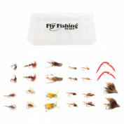 Trout Flies Assortment - Collection of 24 Best Flies for Trout Fly Fishing with Fly Box - Essential Dry and Wet Fly Selection for All Trout Fly Fishing