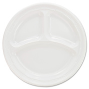 Dart Plastic Plates, 23cm , White, 3 Compartments, Round, 125/Pack