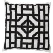 50cm Ivory, Charcoal and Ash Grey Chinese Gate Decorative Linen Throw Pillow - Down Filler