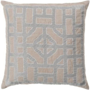 60cm Tan and Ice Blue Chinese Gate Decorative Linen Throw Pillow - Down Filler