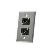 XLR Male 3 Pin Two Port Zinc Alloy Wall Plate