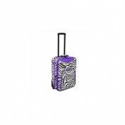 All-Seasons 816701-163AP 50cm Zebra Print Rolling Carry-On Luggage Suitcase, Purple Trim