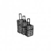 All-Seasons 813098D-BLK-WHT Vacation Expandable Upright Luggage Set, Black Damask - 3 Piece