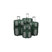 Transworld 73E4100-GREEN All Inclusive 4-Piece EVA Moulded Expandable Rolling Luggage Set, Green