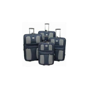 Transworld 73E4100-NAVY All Inclusive 4-Piece EVA Moulded Expandable Rolling Luggage Set, Navy Blue