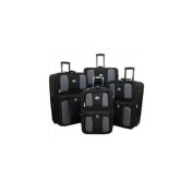 Transworld 73E4100-BLACK All Inclusive 4-Piece EVA Moulded Expandable Rolling Luggage Set, Black