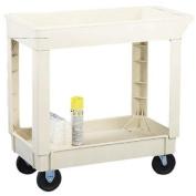CONTINENTAL MFG CO 5800BE 2-Shelf Utility Cart 90kg Cap 34-3/8inx17-1/2inx33in Beige