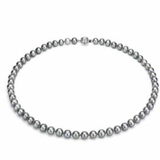 "Jacqueline's Ultra-Lustre 5-6mm Grey Genuine Cultured Freshwater Pearl 18"" Necklace and Sterling Silver Ball Clasp"