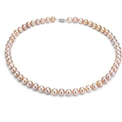 "Jacqueline's Ultra-Lustre 6-7mm Pink Genuine Cultured Freshwater Pearl 18"" Necklace and Sterling Silver Filigree Clasp"