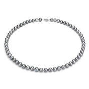 "Jacqueline's Ultra-Lustre 7-8mm Grey Genuine Cultured Freshwater Pearl 18"" Necklace and Sterling Silver Filigree Clasp"