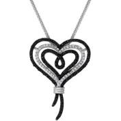 Knots of Love Sterling Silver Black and White 1/2 Carat T.W. Diamond Heart Pendant, 46cm