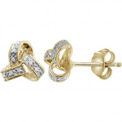 JewelersClub White Diamond Accent Sterling Silver Love Knot Earrings