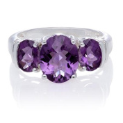 Amethyst Triple Oval Stones with White Topaz Sides Sterling Silver Ring, Size 7