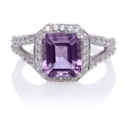 Amethyst Emerald-Cut Halo with White Topaz Sterling Silver Split Shank Ring, Size 7