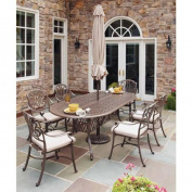 Home Styles Floral Blossom Taupe Dining Set with Umbrella, 7pc