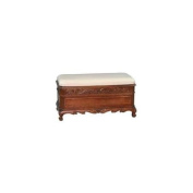 International Caravan 3857 Carved Wood Trunk-Bench with Cushion Top