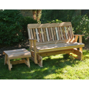 Creekvine Designs Countryside Cedar Rocking Outdoor Glider Loveseat and Table - 2 pc. Set