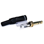 6.3mm (1/4 inch) Stereo Plug, Black Shell, Gold Plated OD:7.5MM