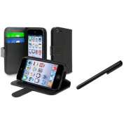INSTEN For Apple iPod Touch 5 5th Wallet Leather Case w/ Card Holder, Black+Black Pen