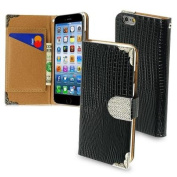 iPhone 6 Case, by INSTEN Flip Crocodile Leather Wallet Case Cover with Card Slot for Apple iPhone 6 12cm , Black