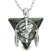 """Amulet Arrowhead Howling Wolf Trinity Dreamcatcher Triangle Protection Energies Black Onyx Pendant on 18"""" Steel Necklace"""