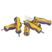 Abilitations AbiliGrip Adapted Foam Grips, 10cm x 2.5cm , Yellow and Purple, Set of 12