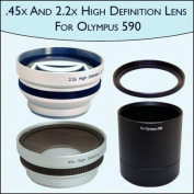 .45x Wide Angle & 2.2x Telephoto Pro Lens Set for Olympus SP-590UZ