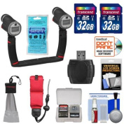 SeaLife Sea Dragon Duo X2 Underwater Flash Set with Dual Tray & Grips with (2) 32GB Cards + Floating Strap + Accessory Kit